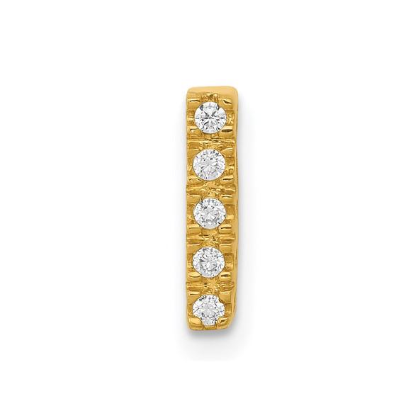14k Yellow Gold Diamond Initial I Charm