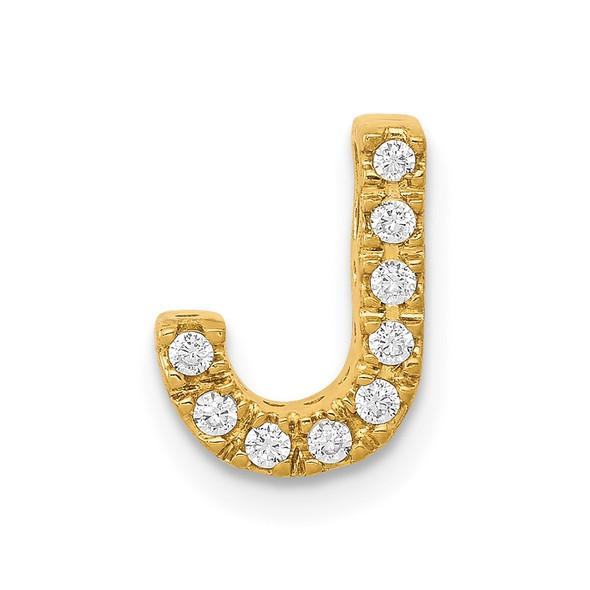 14k Yellow Gold Diamond Initial J Charm
