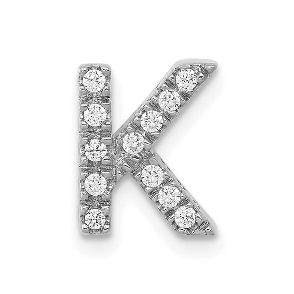 14K White Gold Diamond Initial K Charm