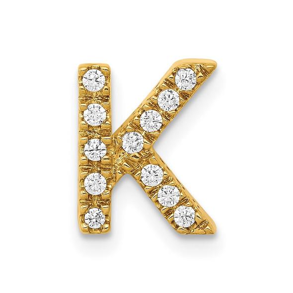 14k Yellow Gold Diamond Initial K Charm