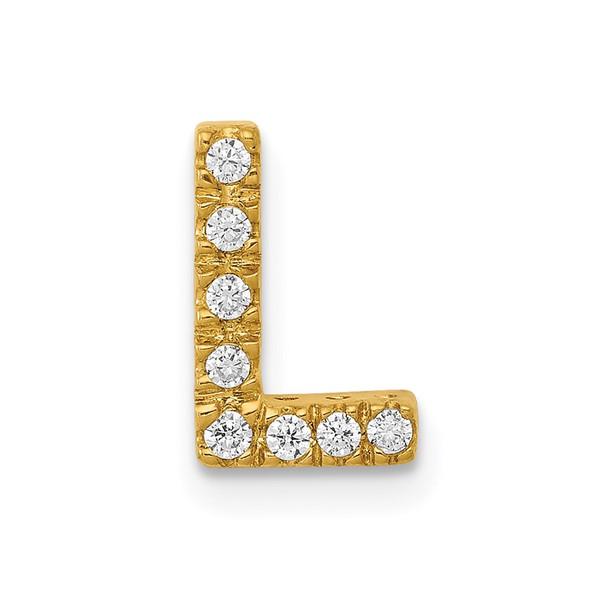 14k Yellow Gold Diamond Initial L Charm