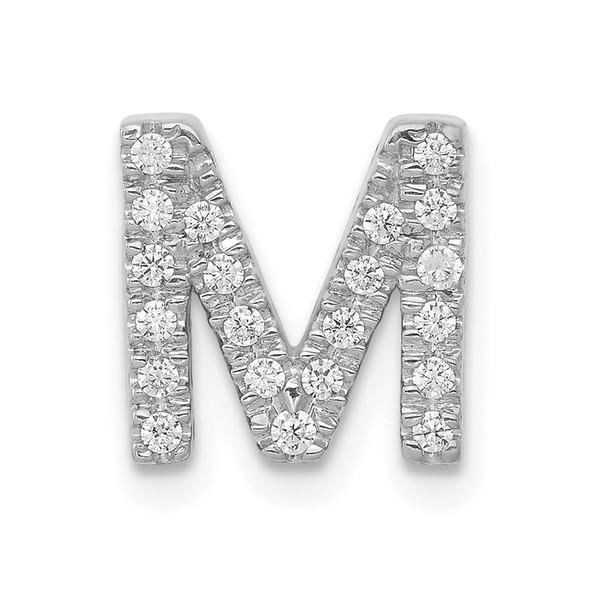 14K White Gold Diamond Initial M Charm