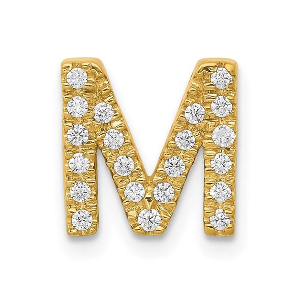 14k Yellow Gold Diamond Initial M Charm
