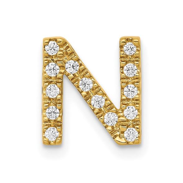14k Yellow Gold Diamond Initial N Charm