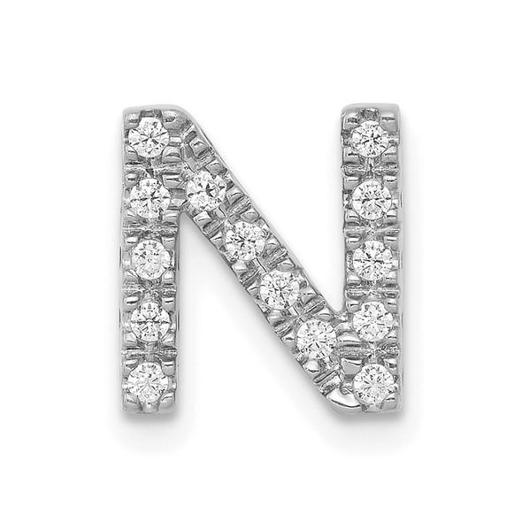 14k White Gold Diamond Initial N Charm