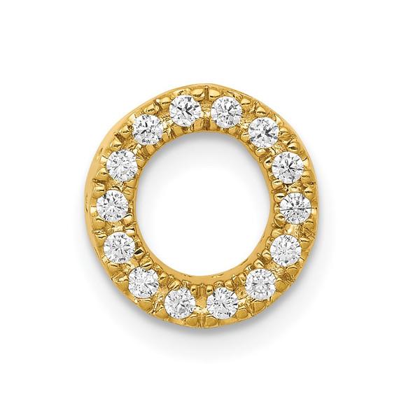 14k Yellow Gold Diamond Initial O Charm