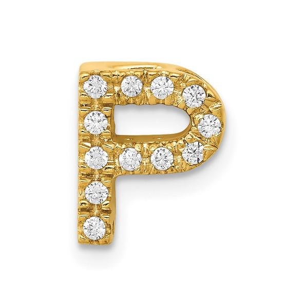14k Yellow Gold Diamond Initial P Charm
