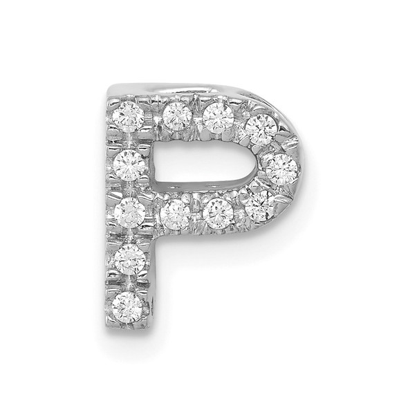14k White Gold Diamond Initial P Charm
