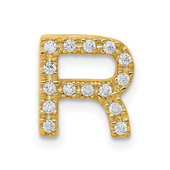14k Yellow Gold Diamond Initial R Charm