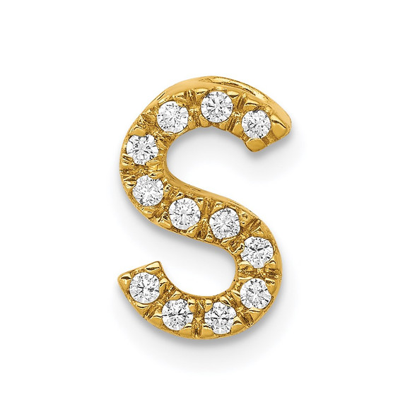 14k Yellow Gold Diamond Initial S Charm