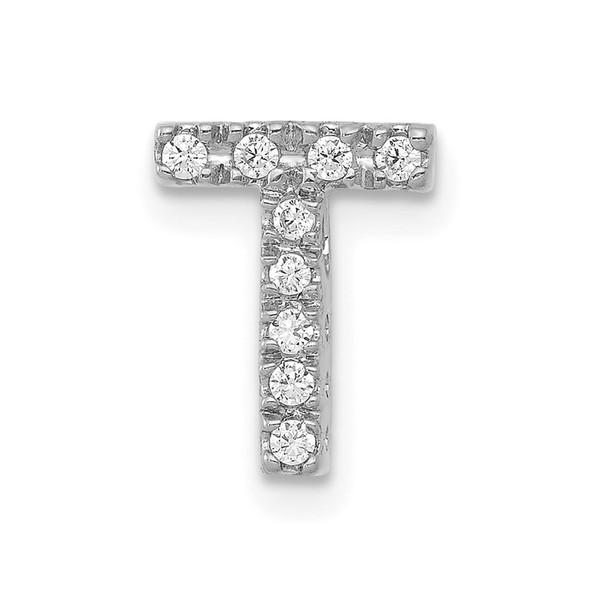 14K White Gold Diamond Initial T Charm