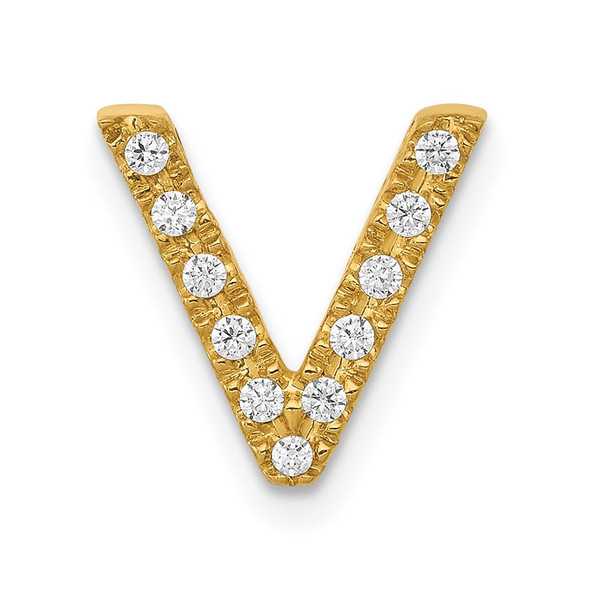 14k Yellow Gold Diamond Initial V Charm