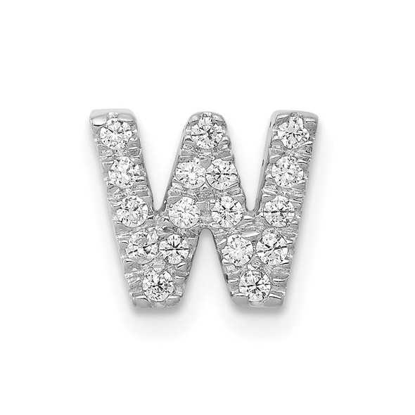 14K White Gold Diamond Initial W Charm