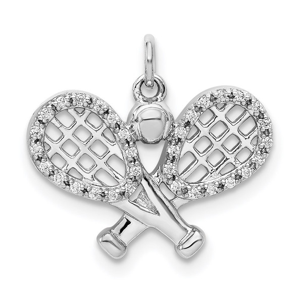 14k White Gold Diamond Rackets and Ball Charm