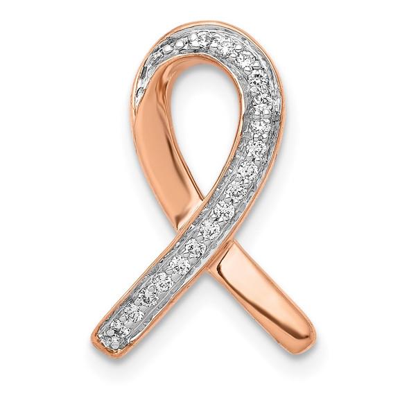 14k Rose Gold Diamond Awareness Slide