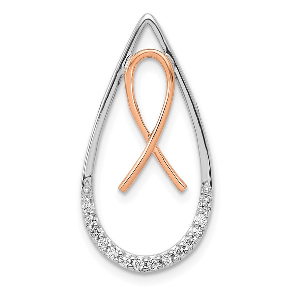14k Two-tone Gold Diamond Awareness Ribbon in Teardrop Slide