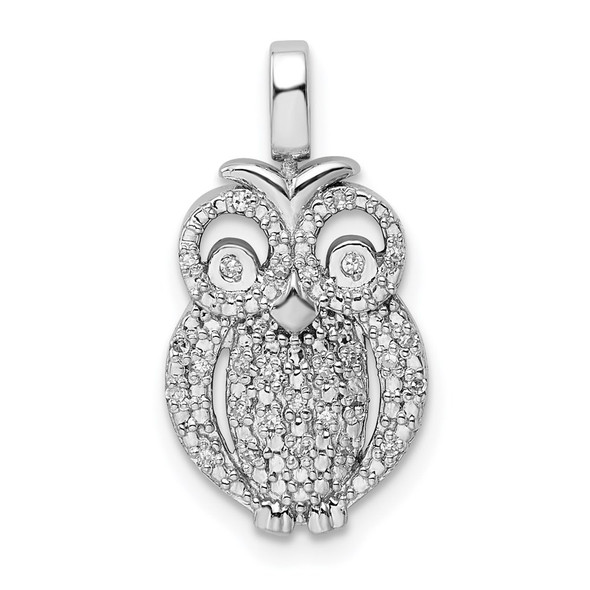 Sterling Silver 0.2ctw Black and White Diamond Reversible Owl Pendant
