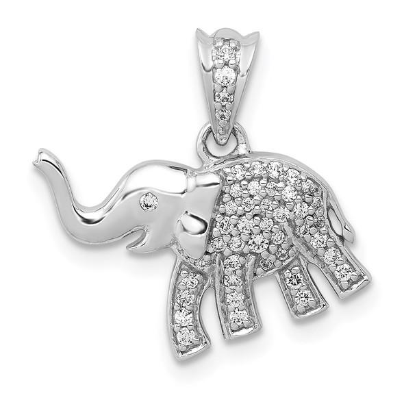 14K White Gold Diamond Elephant Pendant