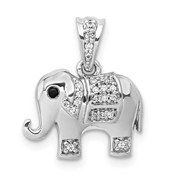 14k White Gold Black/White Diamond Elephant Pendant