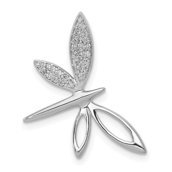 14k White Gold Diamond Dragonfly Slide
