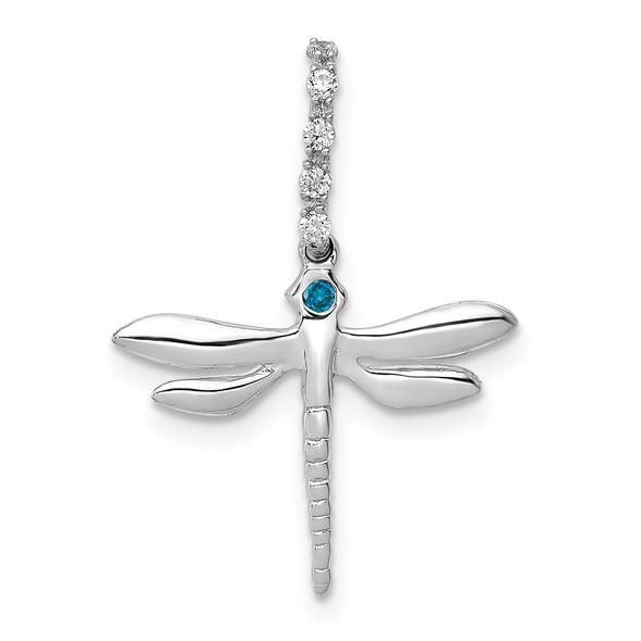 14k White Gold Blue and White Diamond Dragonfly Pendant
