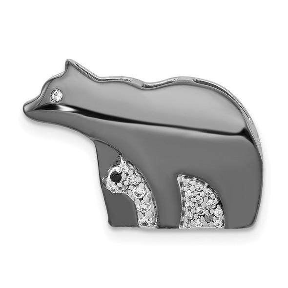 14K White Gold Diamond Bears Pendant
