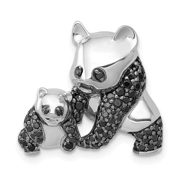 14k White Gold Black Diamond Two Pandas Pendant