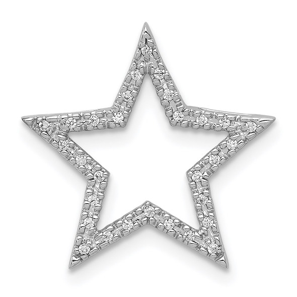 14k White Gold Diamond Star Slide
