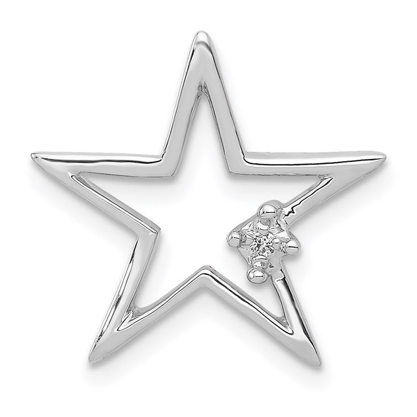 14k White Gold .01ctw Diamond Star Slide
