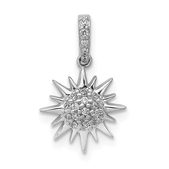 14k White Gold 1/10ctw Diamond Fancy Sun Pendant