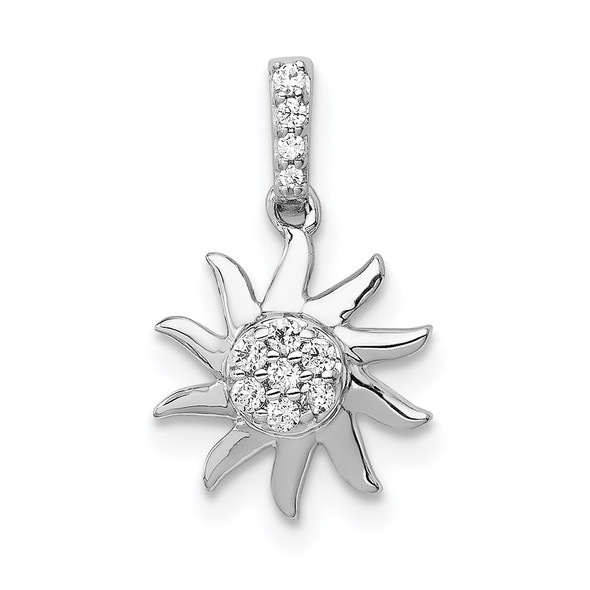 14k White Gold 1/15ctw Diamond Fancy Sun Pendant
