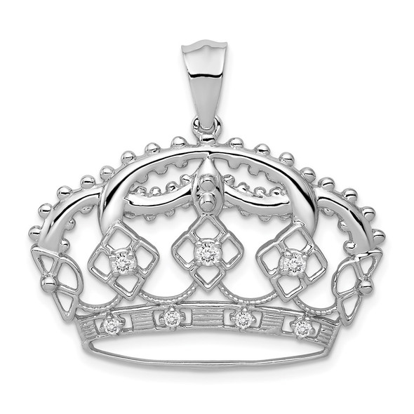 14k White Gold Lab Grown Diamond Si1/Si2, G H I, Crown Pendant