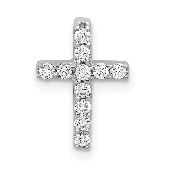 14k White Gold Lab Grown Diamond Si1/Si2 Ghi Cross Pendant Pm4962