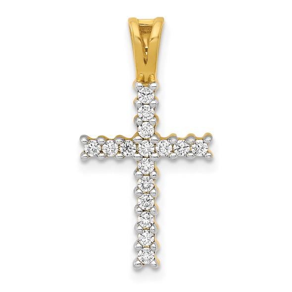 14k Gold and Rhodium Lab Grown Diamond SI1/SI2, G H I, Latin Cross Pendant