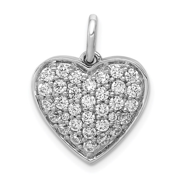 14k White Gold Lab Grown Diamond Si1/Si2 Ghi Heart Charm Pm4878