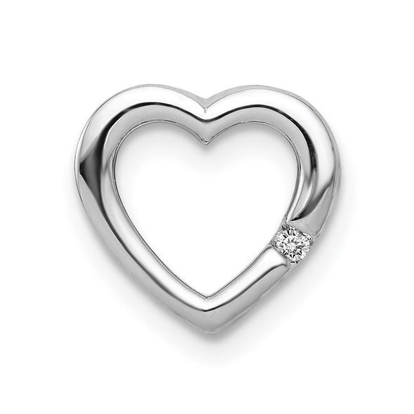 14k White Gold .01ctw Diamond Heart Slide