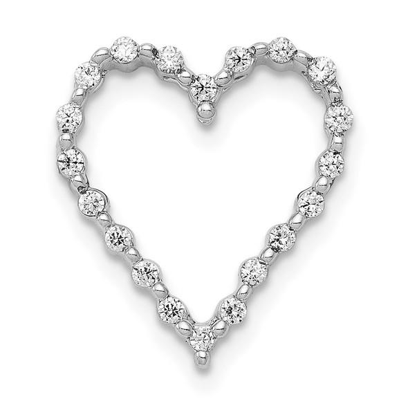 14k White Gold 1/5ctw Diamond Heart Slide
