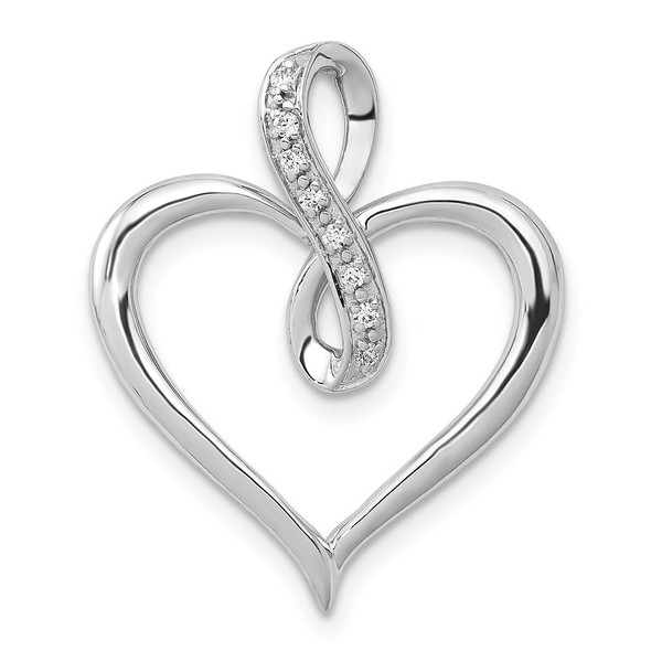 14k White Gold 1/20ctw Diamond Heart and Infinity Pendant