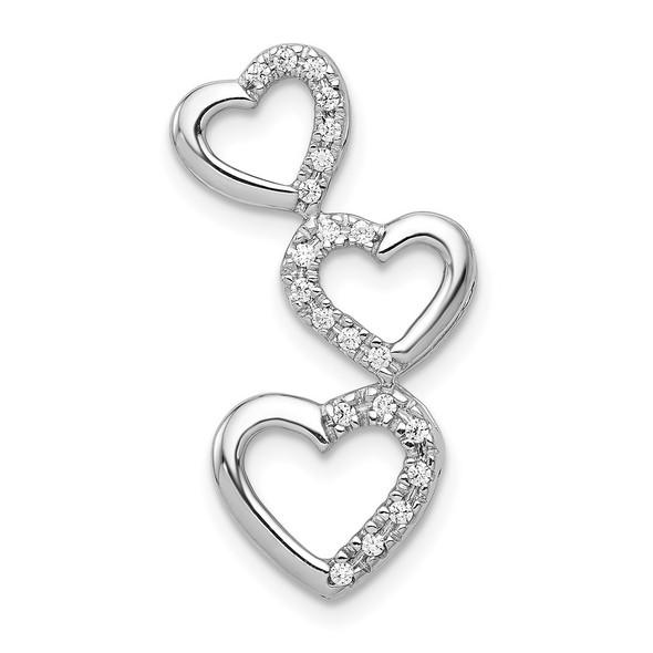 14k White Gold 1/10ctw Diamond Triple Heart Slide