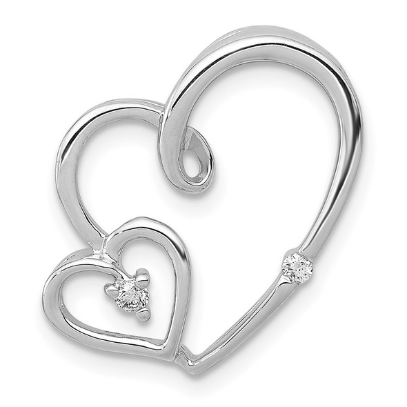 14k White Gold 1/20ctw Diamond Double Hearts Slide