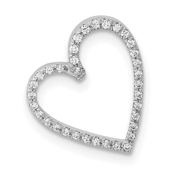 14k White Gold 1/10ctw Diamond Vintage-Style Heart Slide