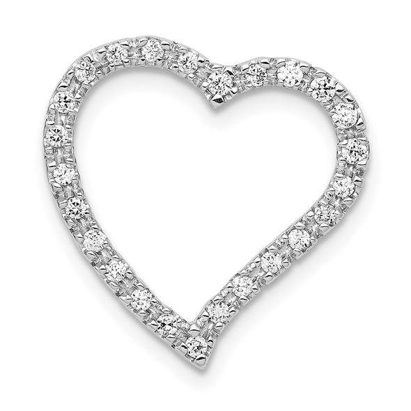 14k White Gold 1/5ctw Diamond Curved Heart Slide