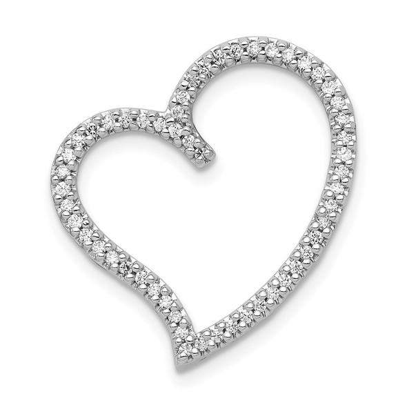 14k White Gold 1/4ctw Diamond Heart Slide