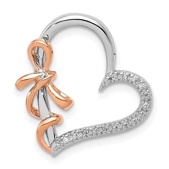 14k White and Rose Gold Diamond Polished Heart w/ Bow Slide Pendant