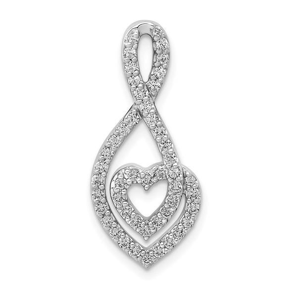14k White Gold 1/2ctw Diamond Fancy Heart Infinity Slide