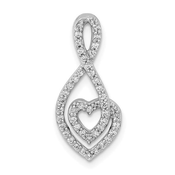 14k White Gold 1/4ctw Diamond Fancy Heart Infinity Slide