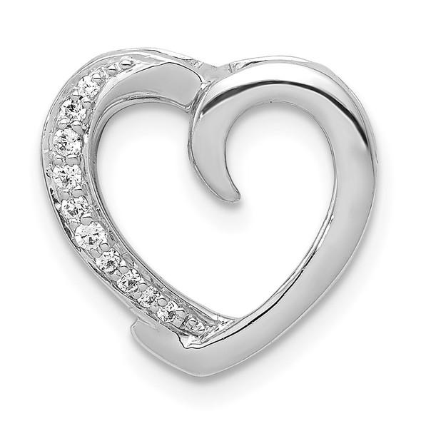 14k White Gold 1/20ctw Diamond Heart Slide PM4852-006-WA