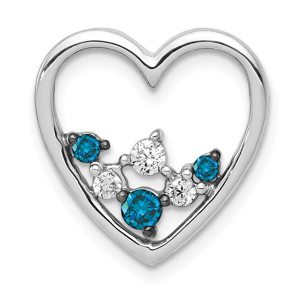 14k White Gold 1/4ctw Blue and White Diamond Heart Slide Pendant