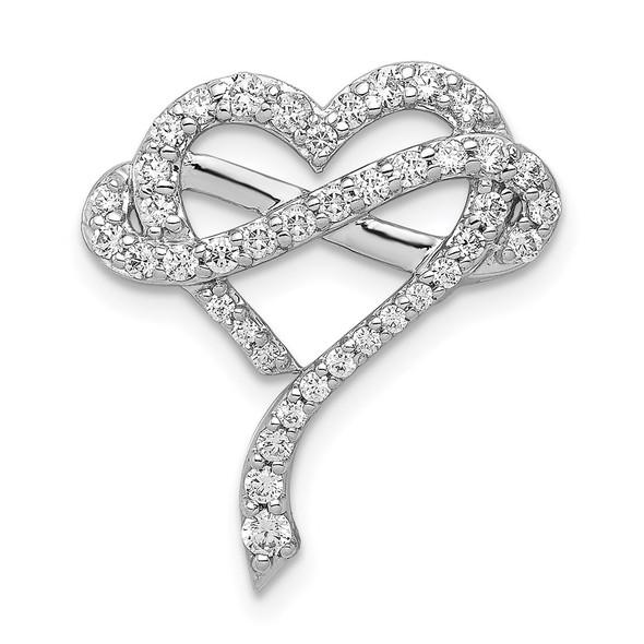14k White Gold 1/2ctw Diamond Infinity and Heart Slide Pendant