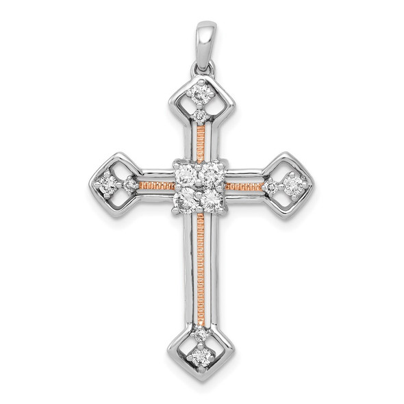 14k White and Rose Gold Lab Grown Diamond SI1/SI2, G H I, Cross Pendant
